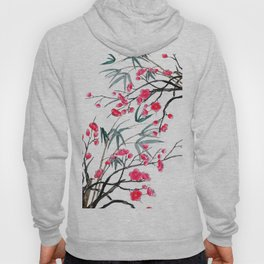 bamboo and red plum flowers in pink background Hoody