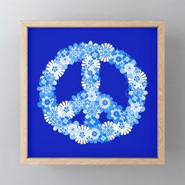 Peace Sign Floral Blue Framed Mini Art Print
