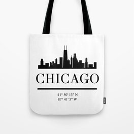 CHICAGO ILLINOIS BLACK SILHOUETTE SKYLINE ART Tote Bag