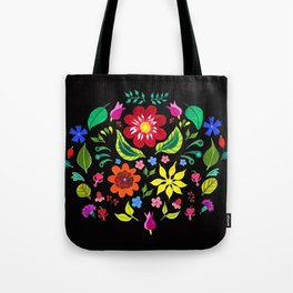 Folk Florals Dark Tote Bag
