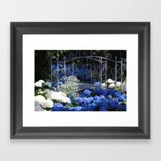 Blue Hydrangea Stream Framed Art Print