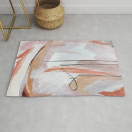 Away: an abstract mixed media piece in pinks and reds Rug