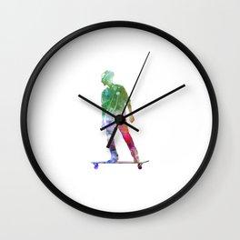Man skateboard 08 in watercolor Wall Clock