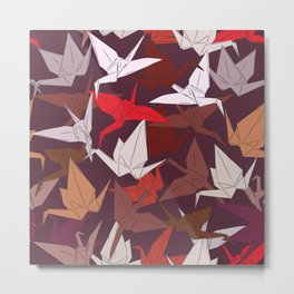 Japanese Origami paper cranes symbol of happiness, luck and longevity, sketch Metal Print