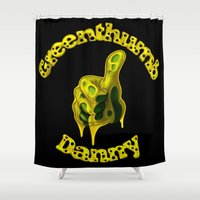 danny haas Shower Curtains featuring Danny Greenthumb by Oilworkz
