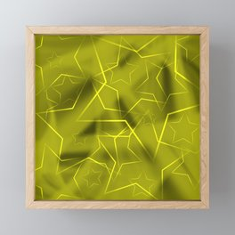 Crossed waves of light from flowing yellow stars on fibers of a veil with dark sparkling transitions Framed Mini Art Print