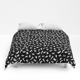 Cats Kittens Felines White on Black Comforters