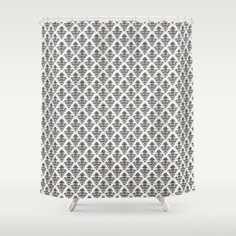 Damask Pattern | Black and White Shower Curtain