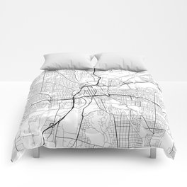 Dayton Map, USA - Black and White Comforters