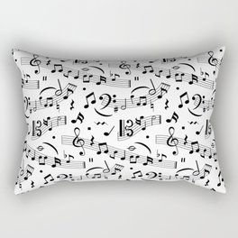 Doodle pattern with hand drawn music notes. Rectangular Pillow