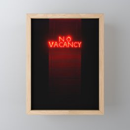 No Vacancy sign in red Framed Mini Art Print