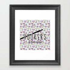 hookers do it one handed funny crochet Framed Art Print