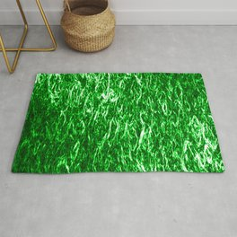 Vertical metal texture of bright highlights on green waves. Rug
