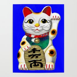 Maneki Neko (Lucky Cat) Blue Poster