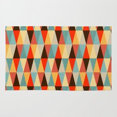 Red & Brown Geometric Triangle Pattern Rug