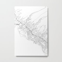 Honolulu White Map Metal Print
