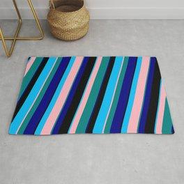 Colorful Deep Sky Blue, Light Pink, Teal, Blue & Black Colored Lined Pattern Rug