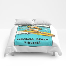 Virginia Beach Retro Vintage Surfer Comforters