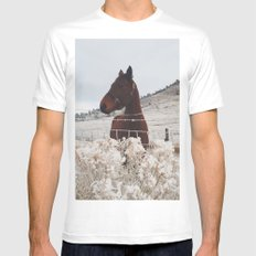 Snowy Horse White MEDIUM Mens Fitted Tee