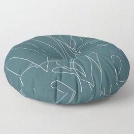 Monstera No2 Teal Floor Pillow