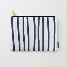 Simply Drawn Vertical Stripes Nautical Navy Blue on White Carry-All Pouch