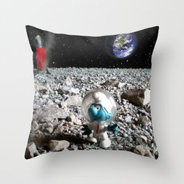 Smurf in the Moon Throw Pillow