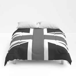 UK Flag, High Quality in grayscale Comforters