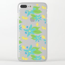 Blue Flower and Yellow Leaf Pattern Clear iPhone Case