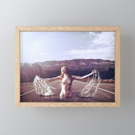 Nude Woman Splashing in the Road Framed Mini Art Print