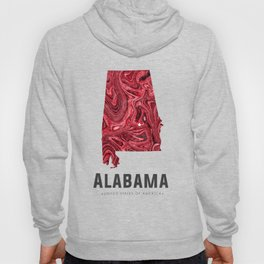 Alabama - State Map Art - Abstract Map - Red Hoody