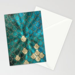 Multicolor Aqua And Gold Mermaid Scales -  Beautiful Abstract Pattern Stationery Cards