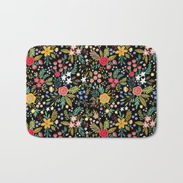 Amazing floral pattern with bright colorful flowers, plants, branches and berries on a black backgro Bath Mat