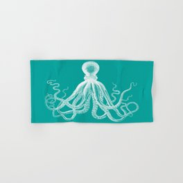 Octopus   Teal and White Hand & Bath Towel