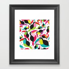 Cute colorful patchwork tucan illustration pattern Framed Art Print