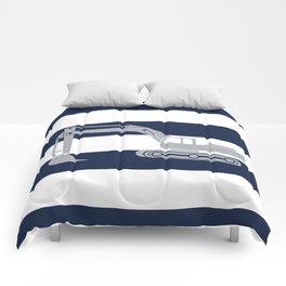 Gray excavator with navy stripes Comforters
