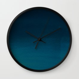 Navy blue teal hand painted watercolor paint ombre Wall Clock