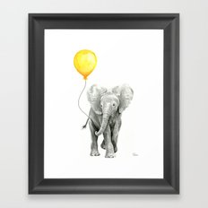 Elephant Watercolor Yellow Balloon Whimsical Baby Animals Framed Art Print