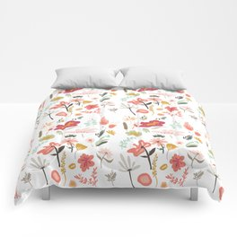 Hand painted pastel pink coral green floral illustration Comforters