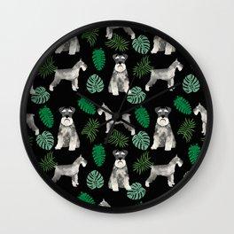 Schnauzer summer monstera tropical pure breed dog gifts Wall Clock