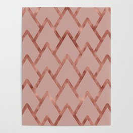 Elegant faux rose gold pink geometric waves pattern Poster
