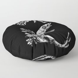 Prehistoric Bloom (Black version) Floor Pillow