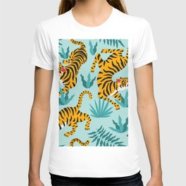 Asian tigers and tropic plants on background. T-shirt
