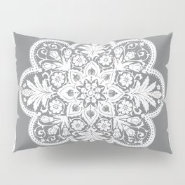 Floral Doily Pattern | Grey and White Pillow Sham