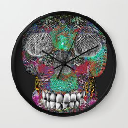 Flower Power Skelly Wall Clock