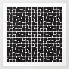 Mid Century BW tile pattern Art Print