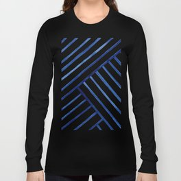 Watercolor lines pattern | Navy blue Long Sleeve T-shirt