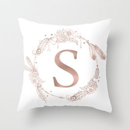 Letter S Rose Gold Pink Initial Monogram Throw Pillow