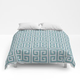 Dusky Blue Greek Key Motif Comforters