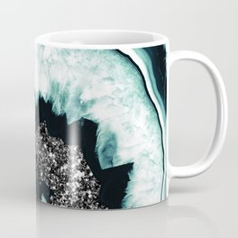 Icy Blue Agate with Black Glitter #1 #gem #decor #art #society6 Coffee Mug