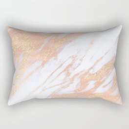 Marble - Rose Gold with Yellow Gold Glitter Shimmery Marble Rectangular Pillow
